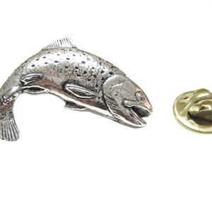 Splashing Salmon Fish Lapel Pin